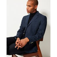 M&S Collection Luxury Pure Linen Striped Tailored Fit Jacket