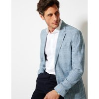 M&S Collection Luxury Blue Linen Checked Tailored Fit Jacket