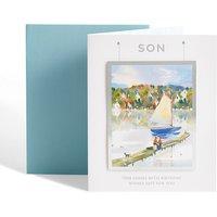 Son Painted Boat Scene Birthday Card