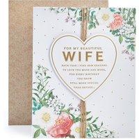 Wife Floral Heart Birthday Card