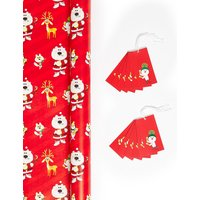Santa Jumbo Christmas Wrap & Tag Pack - 14m Wrap, 12 Gift Tags.