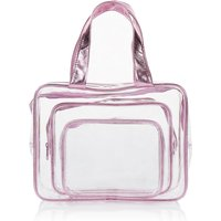M&S Collection 3 Piece Clear Cosmetic Bag Set