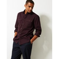 M&S Collection Pure Cotton Textured Shirt with Pockets