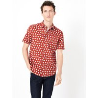 MandS Collection Pure Cotton Shell Print Shirt