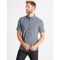 M&S Collection Pure Cotton Slim Fit Textured Shirt