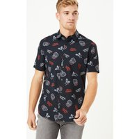 M&S Collection Christmas Pure Cotton Neon Santa Print Shirt