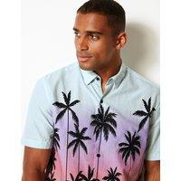 Limited Edition Cotton Rich Palm Print Shirt