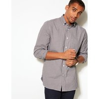 Blue Harbour Cotton Rich Checked Oxford Shirt with Pocket