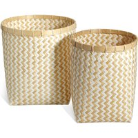 Handwoven Bamboo Set Of 2 Round Baskets