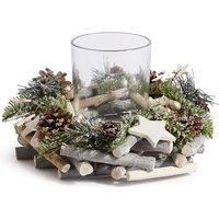Woodland Pine Wreath Pillar Candle Holder