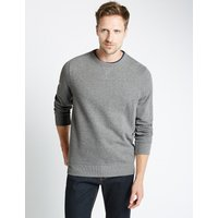 M&S Collection Cotton Rich Crew Neck Regular Fit Sweat