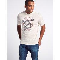 M&S Collection Pure Cotton Baseball Print Crew Neck T-Shirt