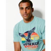 MandS Collection Cotton Blend Eagle Print T-Shirt