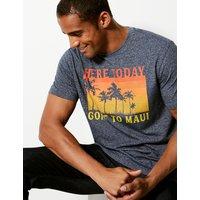 MandS Collection Cotton Blend Maui Print Crew Neck T-Shirt
