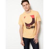 M&S Collection Cotton Blend Sunset Print Crew Neck T-Shirt