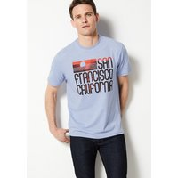 M&S Collection Cotton Blend Printed Crew Neck T-Shirt