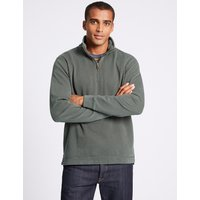 M&S Collection Slim Fit Pure Cotton Zip Through Top