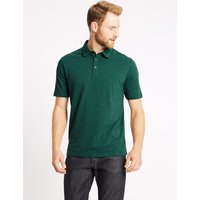 M&S Collection Pure Cotton Spotted Polo Shirt