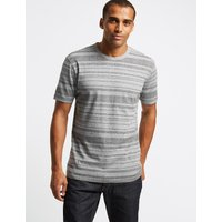M&S Collection Slim Fit Pure Cotton Striped T-Shirt
