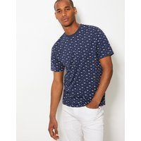 MandS Collection Pure Cotton Shark Print T-Shirt