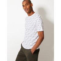 M&S Collection Pure Cotton Shark Print T-Shirt