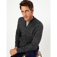M&S Collection Pure Lambswool Zip Through Cardigan