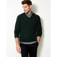 M&S Collection Pure Extra Fine Lambswool V-Neck Jumper at Marks and Spencer Online