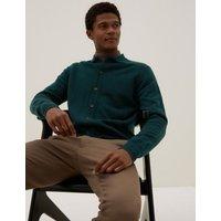 MandS Autograph Mens Pure Cashmere Button Through Polo Cardigan - XSREG - Dark Evergreen, Dark Evergreen,Black