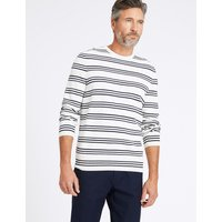 Blue Harbour Cotton Cashmere Striped Jumper