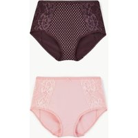 M&s Collection 2 Pack Lace Full Briefs Shaping Knickers