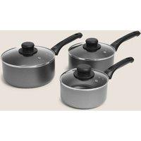 M&S 3 Piece Aluminium Non-Stick Pan Set - 1SIZE - Grey, Grey