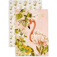Set of 2 Flamingo Design Tea Towels