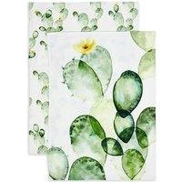 Set of 2 Cactus Design Tea Towels