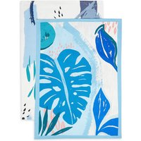 Set of 2 Blue Leaf Design Tea Towels
