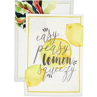 Set of 2 Lemon & Beet Design Tea Towels