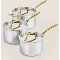 M&S chef Chef Tri Ply 3 Piece Saucepan Set