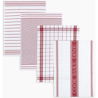 Set of 4 Pack Assorted Design Tea Towels