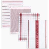 Set of 4 Pack Assorted Design Tea Towels