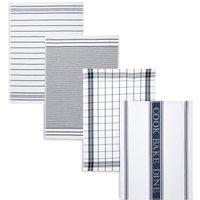 4 Pack Assorted Design Tea Towels