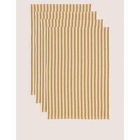 Set of 4 Basket Weave Tea Towels yellow