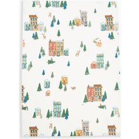 Cotton Festive House Print Tea Towel