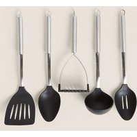 M&S 5 Piece Nylon Stainless Steel Utensil Set - 1SIZE - Silver Mix, Silver Mix