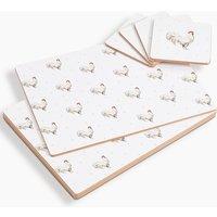 Watercolour Hen 8 Piece Hardmat & Coaster Set