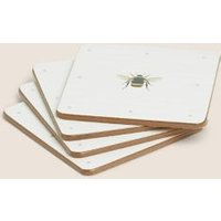 M&S Set of 4 Bee Print Coasters - 1SIZE - Multi, Multi