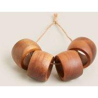MandS Set of 4 Wooden Napkin Rings - Natural, Natural
