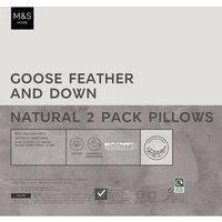 MandS 2 Pack Goose Feather and Down Pillows - 1SIZE - White, White