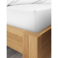 MandS Pure Cotton 600 Thread Count Sateen Deep Fitted Sheet - 6FT - White, White