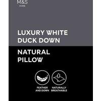 MandS Luxury Duck Down Medium Pillow - 1SIZE - White, White