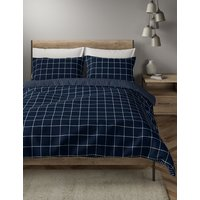 Brushed Cotton Reversible Checked Bedding Set