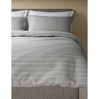 Wide Stripe Brushed Cotton Bedding Set
